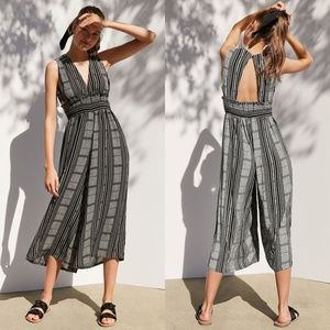 Ecote by UO | Plunging Culotte Striped Jumpsuit